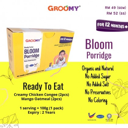 GROOMY: Ready To Eat Bloom Porridge 12M+ (2 Flavors in 1 Box)