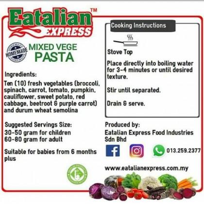 Eatalian Express: Mixed Veggie Pasta- Value Pack (600g)
